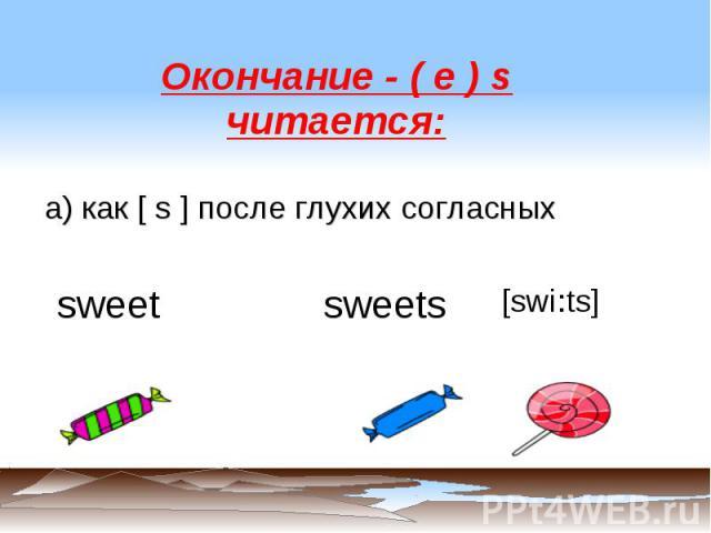 Окончание - ( e ) s читается: а) как [ s ] после глухих согласных