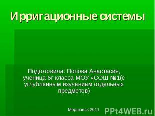 Ирригационные системы Подготовила: Попова Анастасия, ученица 6г класса МОУ «СОШ