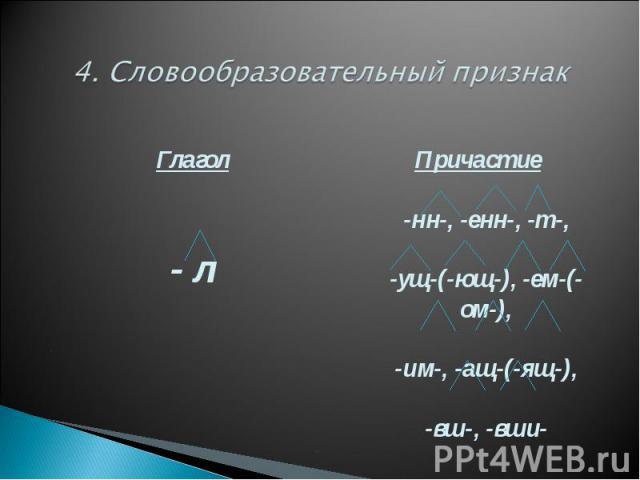 4. Словообразовательный признак Глагол- л Причастие-нн-, -енн-, -т-,-ущ-(-ющ-), -ем-(-ом-),-им-, -ащ-(-ящ-),-вш-, -вши-