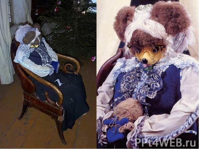 Бабушка Мышь сидит в главном зале в кресле перед камином и бесконечно что-то вяжет