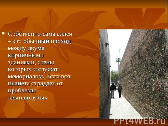 Собственно сама аллея – это обычный проход между двумя кирпичными зданиями, стены которых и служат мемориалом. Если вся планета страдает от проблемы «выплюнутых