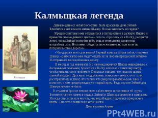 Калмыцкая легенда Давным-давно у ногайского хана была красавица-дочь Зейнаб. Влю