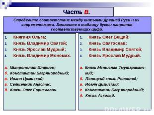 Часть В. Определите соответствие между князьями Древней Руси и их современниками