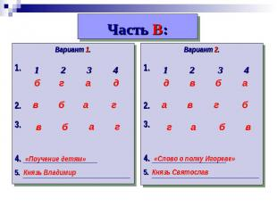 Часть В: Вариант 1.1.2.3.4. «Поучение детям»5. Князь ВладимирВариант 2.1.2.3. 4.