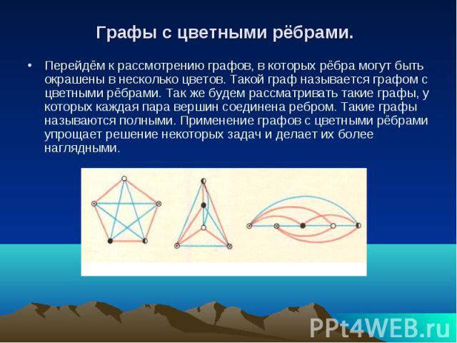 Графы с цветными рёбрами. Перейдём к рассмотрению графов, в которых рёбра могут быть окрашены в несколько цветов. Такой граф называется графом с цветными рёбрами. Так же будем рассматривать такие графы, у которых каждая пара вершин соединена ребром.…