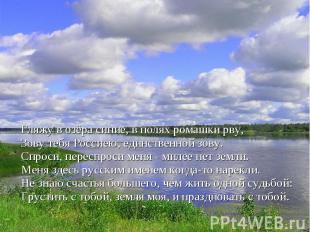Гляжу в озёра синие, в полях ромашки рву,Зову тебя Россиею, единственной зову.Сп