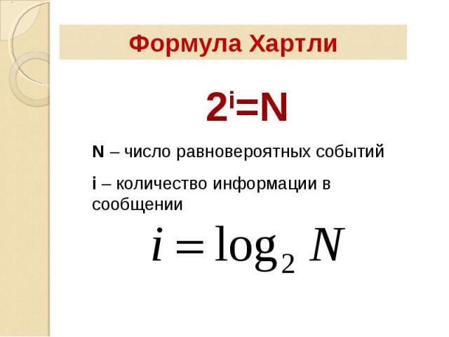 Формула Хартли 2i=NN – число равновероятных событийi – количество информации в сообщении