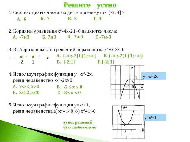Решите устно1. Сколько целых чисел входит в промежуток (-2; 4] ? Б. 7 В. 5 Г. 42. Корнями уравнения х²-4х-21=0 являются числа: А. -7и3 Б. 7и3 Г. -7и-33. Выбери множество решений неравенства х²+х-2≤0: + - + А. (-∞;-2]U[1;+∞) В. (-∞;-2)U(1;+∞) -2 1 Г.…
