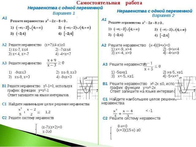 Самостоятельная работа Неравенства с одной переменной Вариант 1А1 А2 Решите неравенство (х+7)(4-х)≥0 1) х≤-7, х≤4 2) -7≤х≤4 3) х< 4, х>-7 4) -4