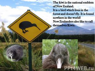 The kiwi is the national emblem of New Zealand.It is a bird which lives in the f
