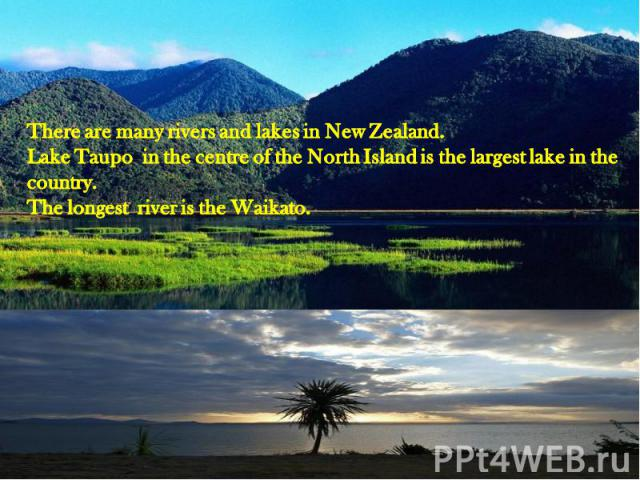 There are many rivers and lakes in New Zealand.Lake Taupo in the centre of the North Island is the largest lake in the country.The longest river is the Waikato.