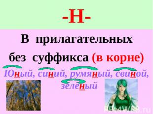 -Н- В прилагательныхбез суффикса (в корне)Юный, синий, румяный, свиной, зелёный