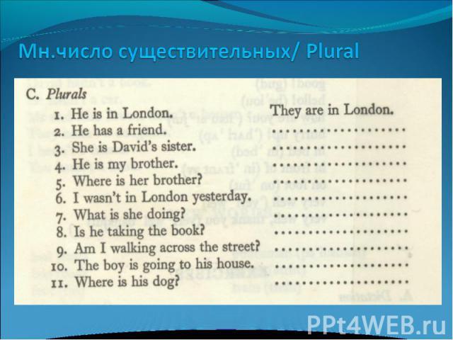 Мн.число существительных/ Plural