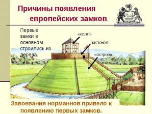Причины появления европейских замков.Первые замки в основном строились из дерева