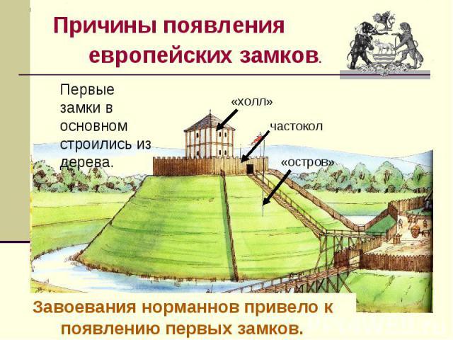 Причины появления европейских замков.Первые замки в основном строились из дерева.Завоевания норманнов привело к появлению первых замков.