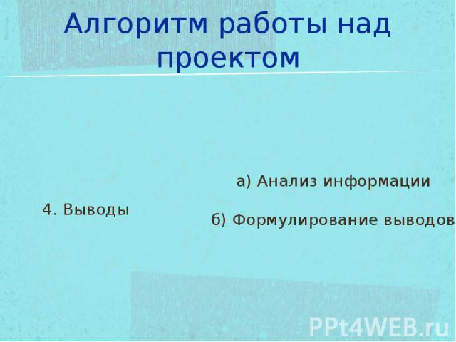Алгоритм работы над проектом 4. Выводыа) Анализ информацииб) Формулирование выводов