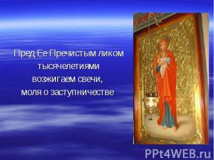 Пред Ее Пречистым ликом тысячелетиями возжигаем свечи, моля о заступничестве