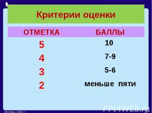 Критерии оценки