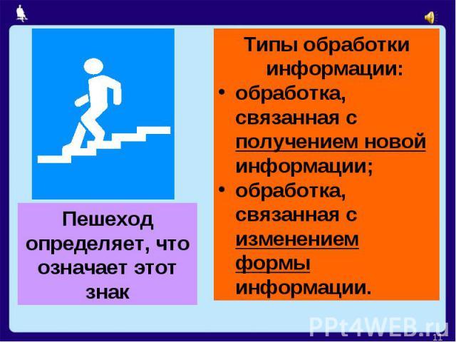 Пешеход определяет, что означает этот знакТипы обработки информации:обработка, связанная с получением новой информации;обработка, связанная с изменением формы информации.