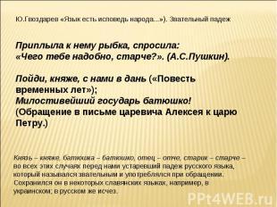 Ю.Гвоздарев «Язык есть исповедь народа...»). Звательный падежПриплыла к нему рыб
