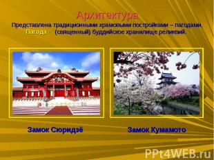 АрхитектураПредставлена традиционными храмовыми постройками – пагодами.Пагода –