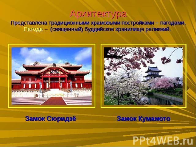 АрхитектураПредставлена традиционными храмовыми постройками – пагодами.Пагода – (священный) буддийское хранилище реликвий. Замок СюридзёЗамок Кумамото