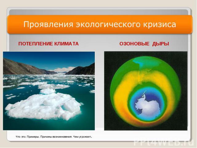 Проявления экологического кризиса ПОТЕПЛЕНИЕ КЛИМАТА ОЗОНОВЫЕ ДЫРЫЧто это. Примеры. Причины возникновения. Чем угрожает.
