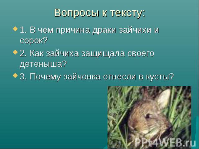 Вопросы к тексту: 1. В чем причина драки зайчихи и сорок?2. Как зайчиха защищала своего детеныша?3. Почему зайчонка отнесли в кусты?