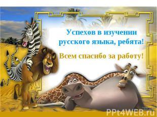 Успехов в изучении русского языка, ребята!Всем спасибо за работу!