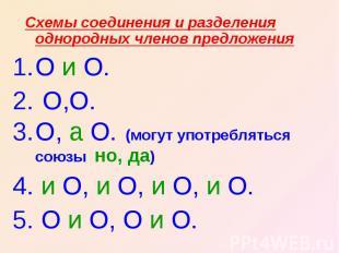 Схемы соединения и разделения однородных членов предложенияО и О. О,О.О, а О. (м