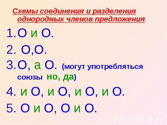 Схемы соединения и разделения однородных членов предложенияО и О. О,О.О, а О. (могут употребляться союзы но, да) 4. и О, и О, и О, и О.5. О и О, О и О.