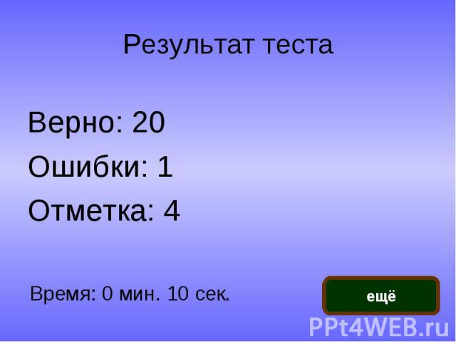 Результат теста Верно: 20Ошибки: 1Отметка: 4