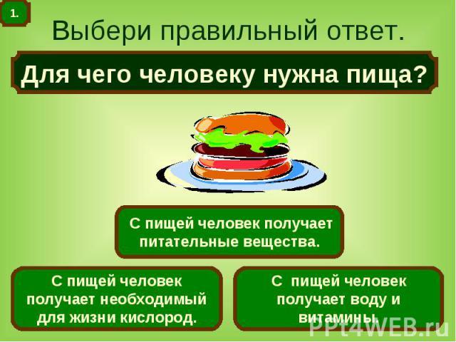 Выбери правильный ответ. Для чего человеку нужна пища?