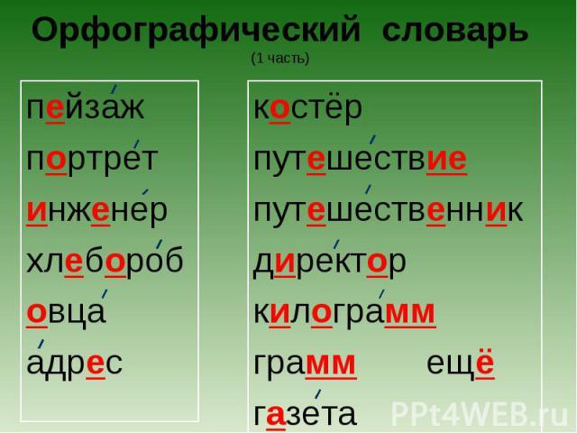 Орфографический словарь(1 часть) пейзажпортретинженерхлеборобовцаадрескостёрпутешествиепутешественникдиректоркилограммграммещёгазета