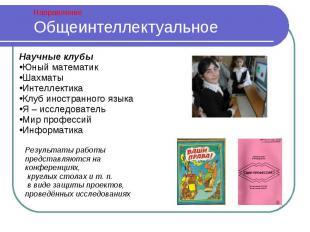 Общеинтеллектуальное Научные клубыЮный математикШахматыИнтеллектикаКлуб иностран