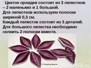 Цветок орхидеи состоит из 3 лепестков – 2 маленьких и 1 большой. Для лепестков и