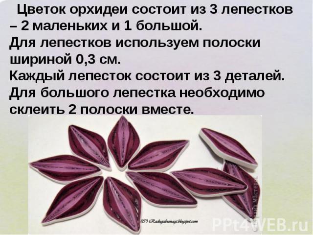 Цветок орхидеи состоит из 3 лепестков – 2 маленьких и 1 большой. Для лепестков используем полоски шириной 0,3 см. Каждый лепесток состоит из 3 деталей. Для большого лепестка необходимо склеить 2 полоски вместе.