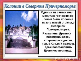 Колонии в Северном Причерноморье Одними из самых зна-менитых греческих ко-лоний