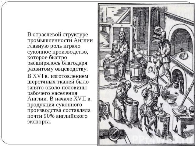 В отраслевой структуре промышленности Англии главную роль играло суконное производство, которое быстро расширялось благодаря развитому овцеводству. В XVI в. изготовлением шерстяных тканей было занято около половины рабочего населения Англии. В начал…