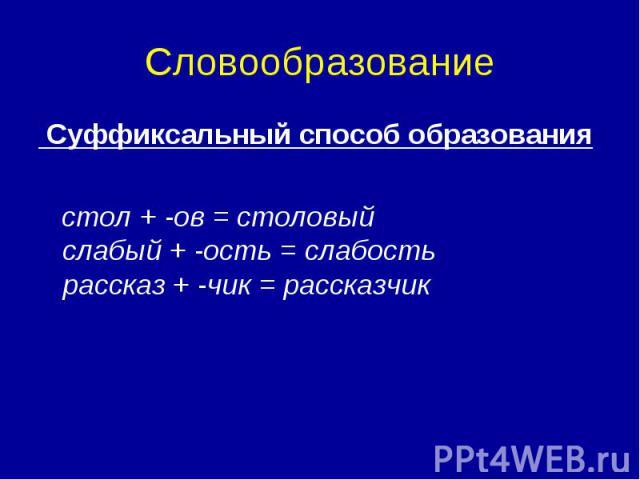 Словообразование Суффиксальный способ образования стол + -ов = столовый слабый + -ость = слабость рассказ + -чик = рассказчик