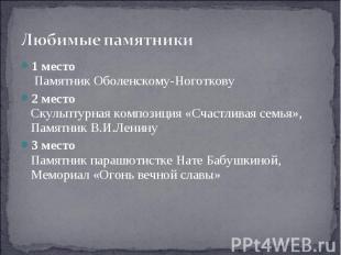 Любимые памятники 1 место Памятник Оболенскому-Ноготкову2 местоСкульптурная комп