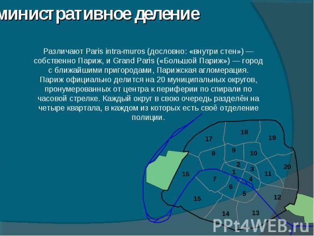 Административное деление Различают Paris intra-muros (дословно: «внутри стен»)— собственно Париж, и Grand Paris («Большой Париж»)— город с ближайшими пригородами, Парижская агломерация.Париж официально делится на 20 муниципальных округов, пронумер…