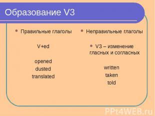 Образование V3 Правильные глаголыV+edopeneddustedtranslatedНеправильные глаголыV