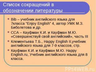 Список сокращений в обозначении литературы Bib – учебник английского языка для 7