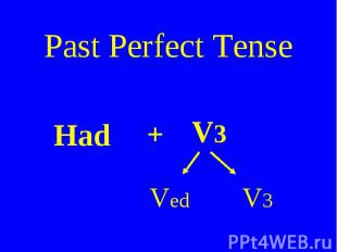 Past Perfect Tense Had