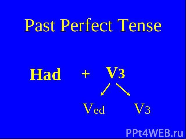 Past Perfect Tense Had