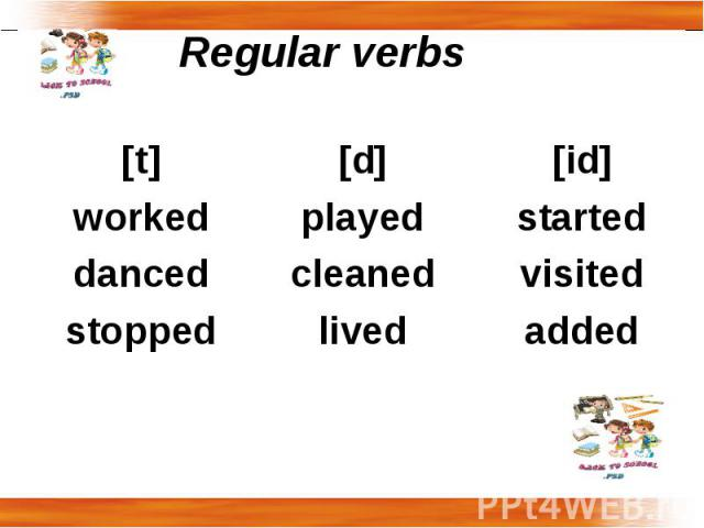 Regular verbs [t]workeddancedstopped[d]playedcleanedlived[id]startedvisitedadded