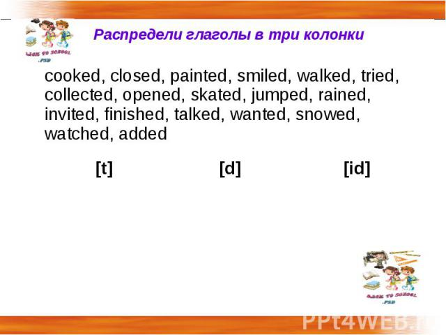 Распредели глаголы в три колонки cooked, closed, painted, smiled, walked, tried, collected, opened, skated, jumped, rained, invited, finished, talked, wanted, snowed, watched, added