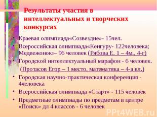 Результаты участия в интеллектуальных и творческих конкурсах Краевая олимпиада«С