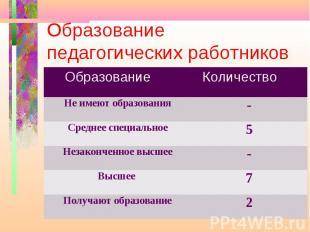 Образование педагогических работников